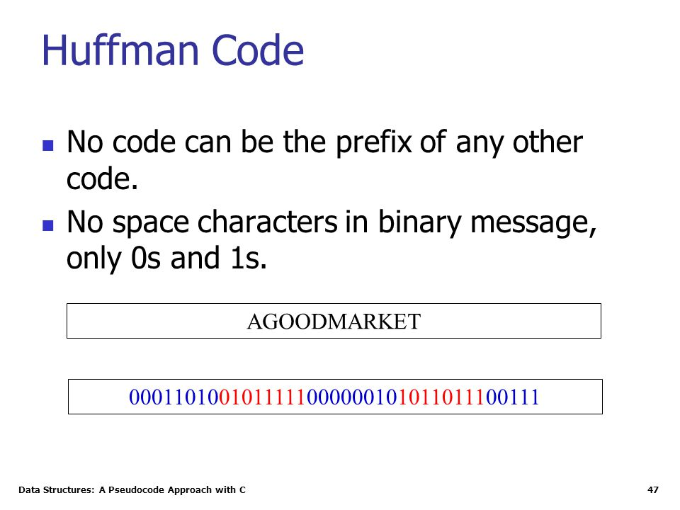 Data Structures: A Pseudocode Approach with C 47 Huffman Code No code can be the prefix of any other code. No space characters in binary message, only
