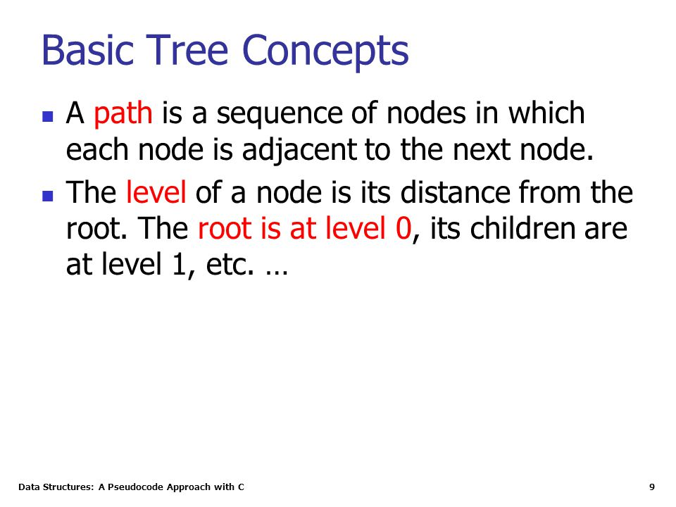 Data Structures: A Pseudocode Approach with C 9 Basic Tree Concepts A path is a sequence of nodes in which each node is adjacent to the next node.