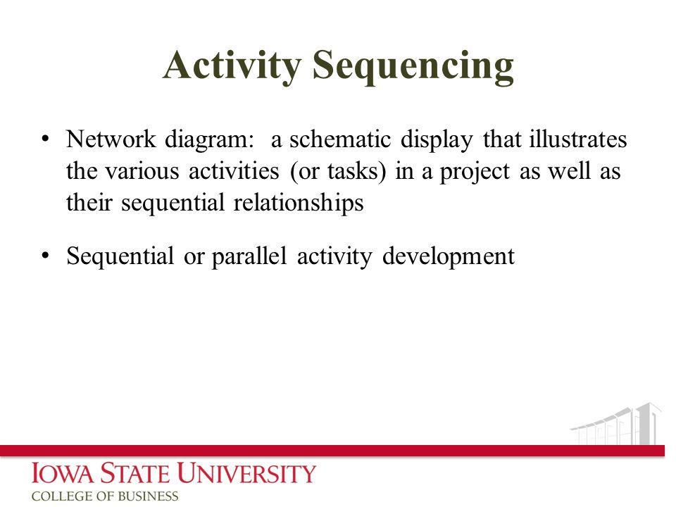 Activity Sequencing Network diagram: a schematic display that illustrates the various activities (or tasks) in a project as well as their sequential relationships Sequential or parallel activity development