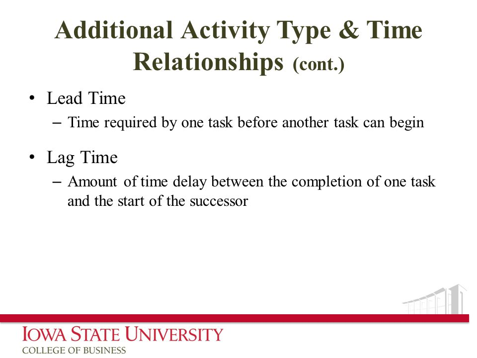 Additional Activity Type & Time Relationships (cont.) Lead Time – Time required by one task before another task can begin Lag Time – Amount of time delay between the completion of one task and the start of the successor