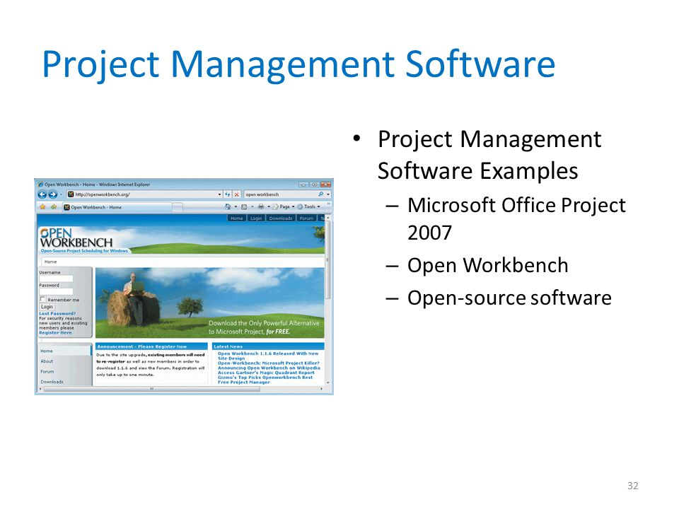 Project Management Software Project Management Software Examples – Microsoft Office Project 2007 – Open Workbench – Open-source software 32