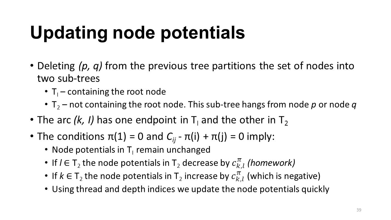 Updating node potentials 39