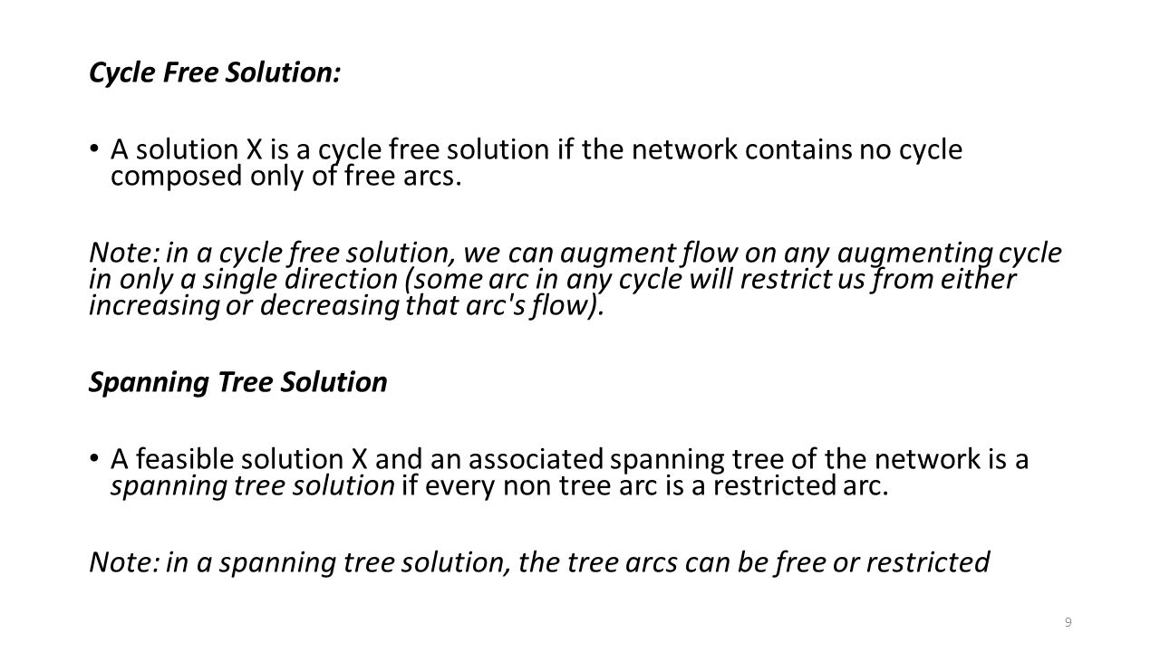 Cycle Free Solution: A solution X is a cycle free solution if the network contains no cycle composed only of free arcs.