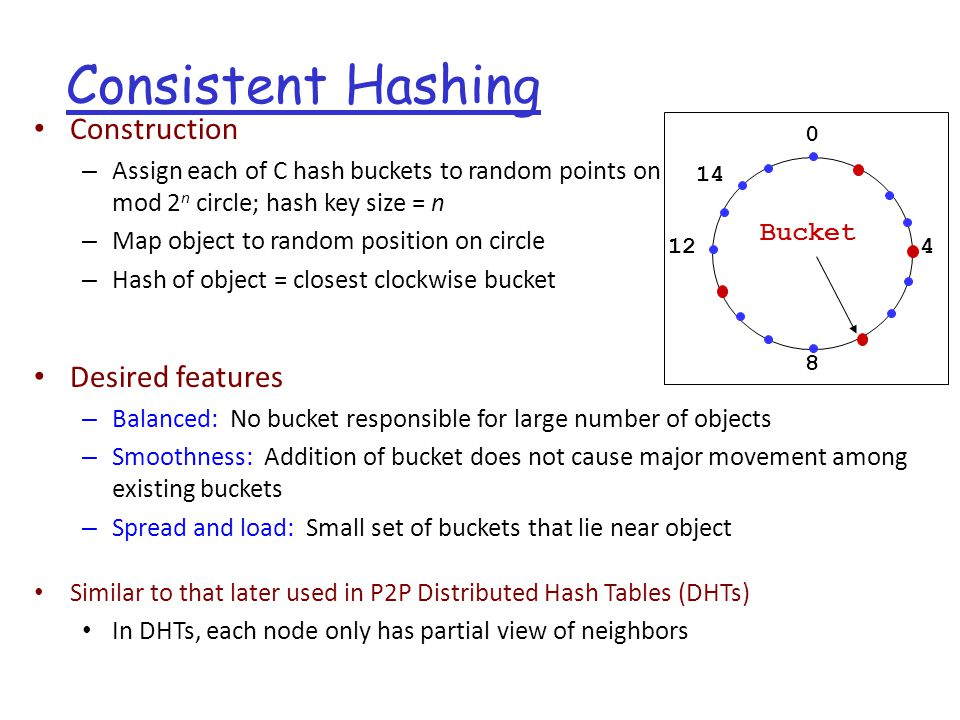Consistent Hashing 0 4 8 12 Bucket 14 Construction – Assign each of C hash buckets to random points on mod 2 n circle; hash key size = n – Map object to random position on circle – Hash of object = closest clockwise bucket Desired features – Balanced: No bucket responsible for large number of objects – Smoothness: Addition of bucket does not cause major movement among existing buckets – Spread and load: Small set of buckets that lie near object Similar to that later used in P2P Distributed Hash Tables (DHTs) In DHTs, each node only has partial view of neighbors