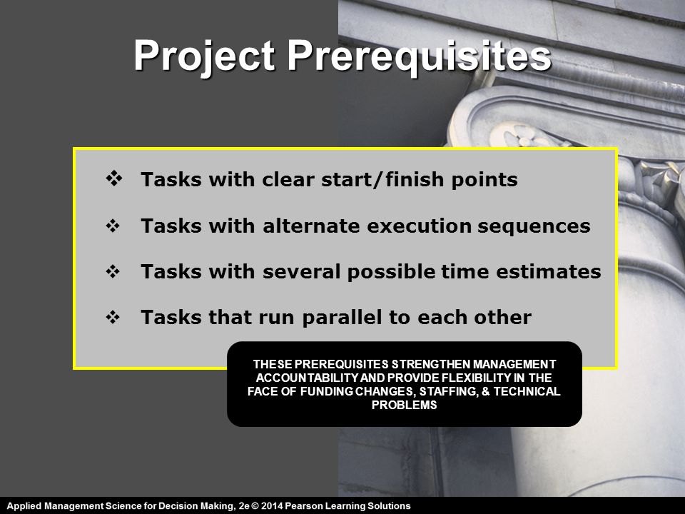 Project Prerequisites  Tasks with clear start/finish points  Tasks with alternate execution sequences  Tasks with several possible time estimates 