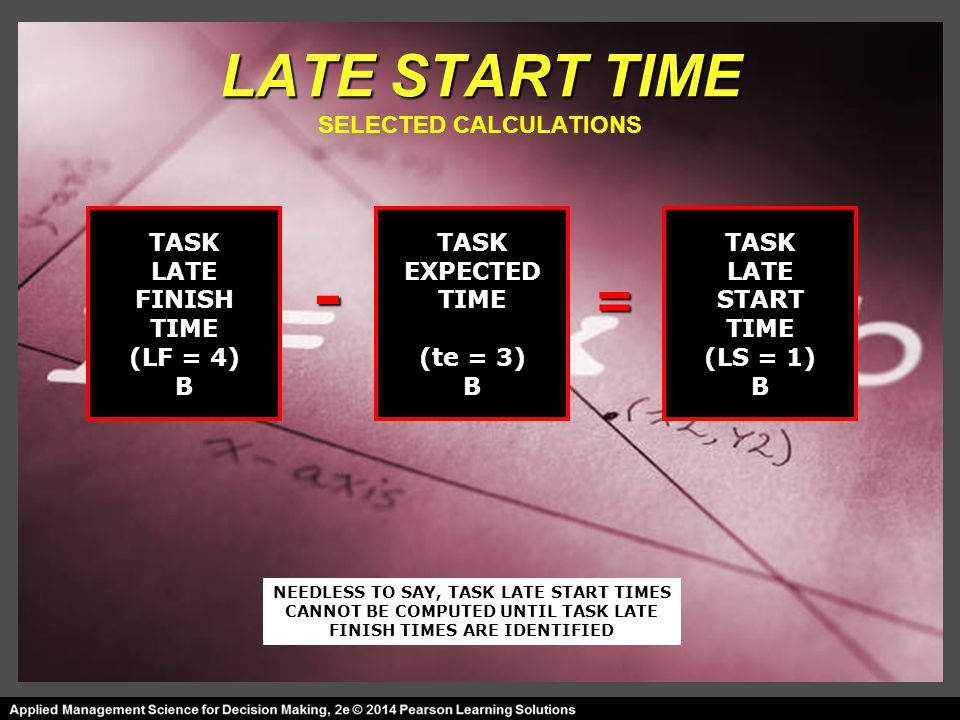 LATE START TIME LATE START TIME SELECTED CALCULATIONS TASK LATE FINISH TIME (LF = 4) B TASK EXPECTED TIME (te = 3) B TASK LATE START TIME (LS = 1) B = - NEEDLESS TO SAY, TASK LATE START TIMES CANNOT BE COMPUTED UNTIL TASK LATE FINISH TIMES ARE IDENTIFIED