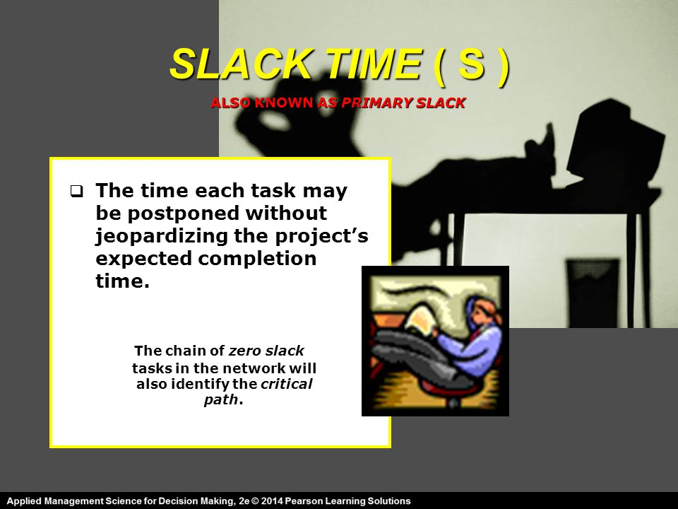 SLACK TIME ( S )  The time each task may be postponed without jeopardizing the project's expected completion time. The chain of zero slack tasks in t