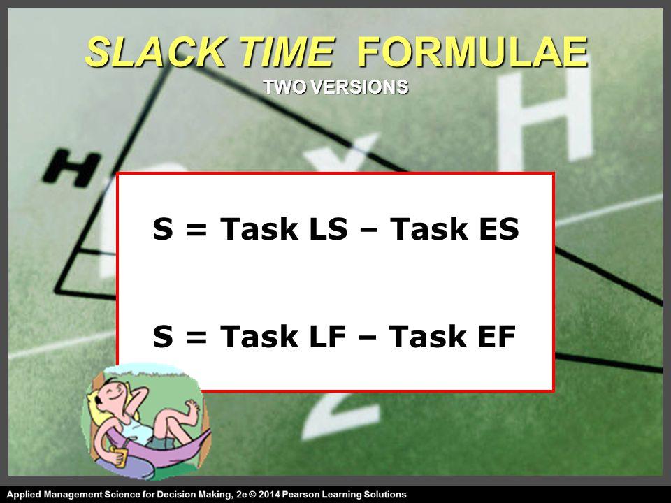 SLACK TIME FORMULAE TWO VERSIONS S = Task LS – Task ES S = Task LF – Task EF