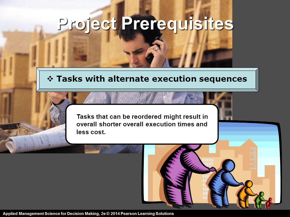 Project Prerequisites  Tasks with several possible time estimates Identifying best case, worst case, and most likely time estimates for each project task allows us to better adopt to changes in funding, deadlines, and unforeseen technical problems.