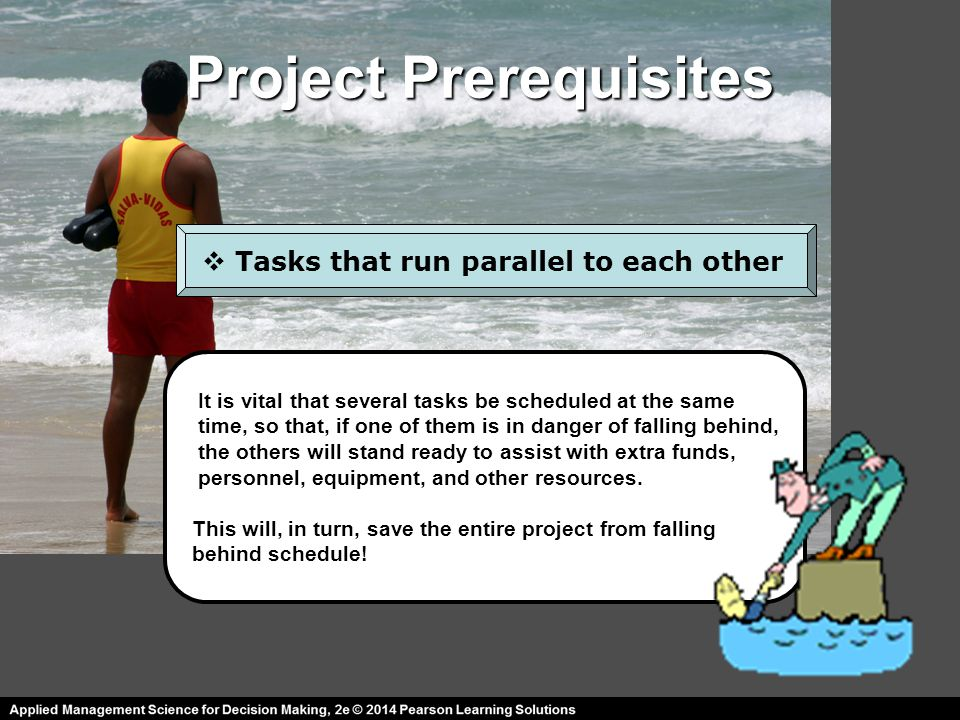 Project Prerequisites  Tasks that run parallel to each other It is vital that several tasks be scheduled at the same time, so that, if one of them is in danger of falling behind, the others will stand ready to assist with extra funds, personnel, equipment, and other resources.
