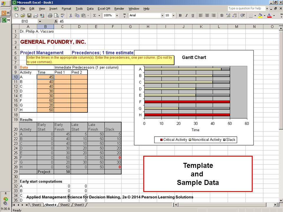 Template and Sample Data
