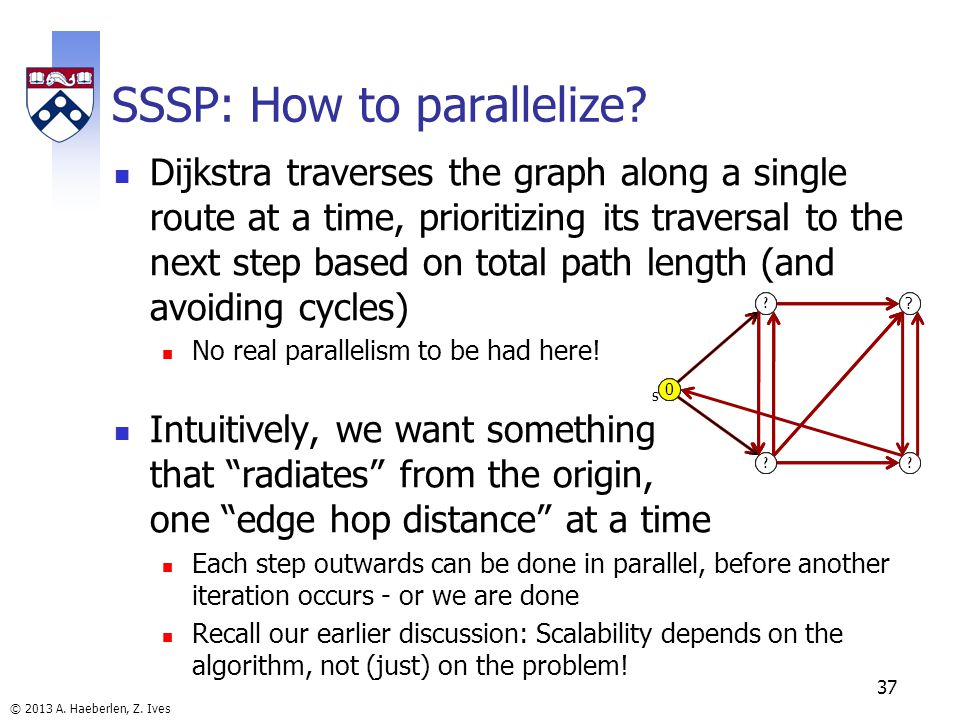 © 2013 A. Haeberlen, Z. Ives SSSP: How to parallelize? Dijkstra traverses the graph along a single route at a time, prioritizing its traversal to the