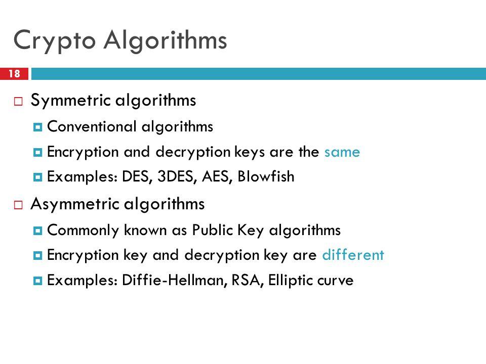 Crypto Algorithms 18  Symmetric algorithms  Conventional algorithms  Encryption and decryption keys are the same  Examples: DES, 3DES, AES, Blowfish  Asymmetric algorithms  Commonly known as Public Key algorithms  Encryption key and decryption key are different  Examples: Diffie-Hellman, RSA, Elliptic curve