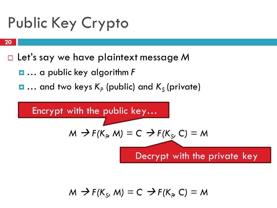 Public Key Crypto 20  Let's say we have plaintext message M  … a public key algorithm F  … and two keys K P (public) and K S (private) M  F(K P, M) = C  F(K S, C) = M M  F(K S, M) = C  F(K P, C) = M Encrypt with the public key… Decrypt with the private key