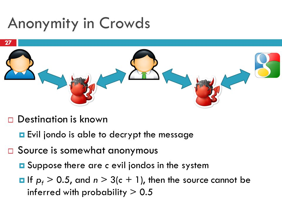 Anonymity in Crowds 27  Destination is known  Evil jondo is able to decrypt the message  Source is somewhat anonymous  Suppose there are c evil jo