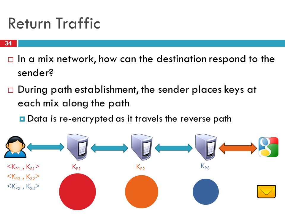 Return Traffic 34  In a mix network, how can the destination respond to the sender?  During path establishment, the sender places keys at each mix a