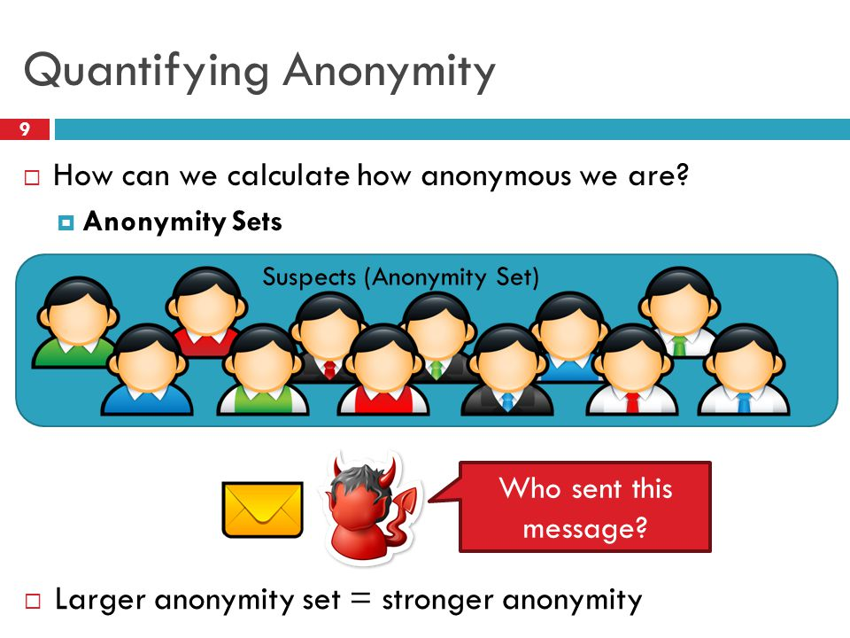 Quantifying Anonymity 9  How can we calculate how anonymous we are?  Anonymity Sets  Larger anonymity set = stronger anonymity Who sent this messag