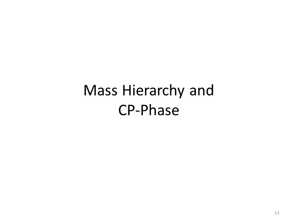 Mass Hierarchy and CP-Phase 14