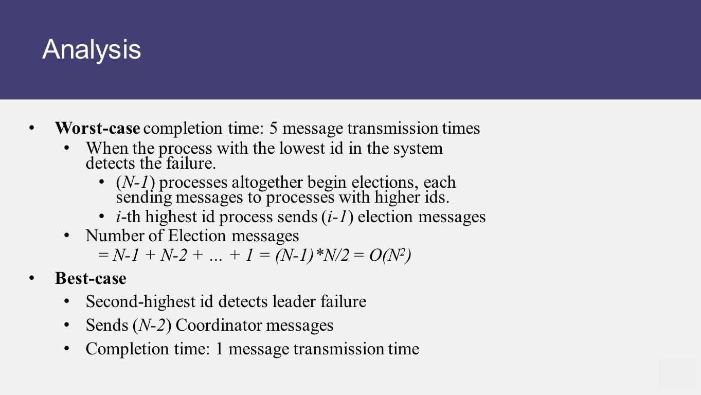 Analysis Worst-case completion time: 5 message transmission times When the process with the lowest id in the system detects the failure.