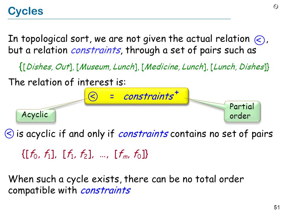 51 Cycles In topological sort, we are not given the actual relation, but a relation constraints, through a set of pairs such as { [Dishes, Out], [Museum, Lunch], [Medicine, Lunch], [Lunch, Dishes]} The relation of interest is: = constraints + is acyclic if and only if constraints contains no set of pairs {[f 0, f 1 ], [f 1, f 2 ], …, [f m, f 0 ]} When such a cycle exists, there can be no total order compatible with constraints < < < Partial order Acyclic