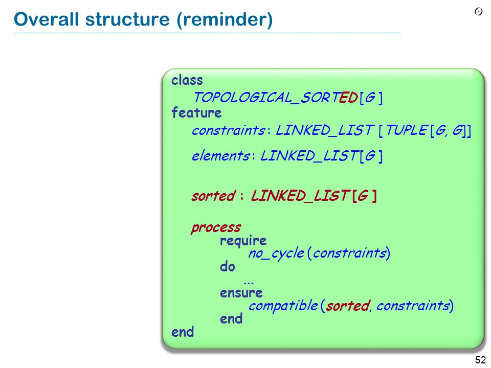 52 Overall structure (reminder) class TOPOLOGICAL_SORTED [G ] feature constraints : LINKED_LIST [TUPLE [G, G]] elements : LINKED_LIST [G ] sorted : LINKED_LIST [G ] process require no_cycle (constraints) do...