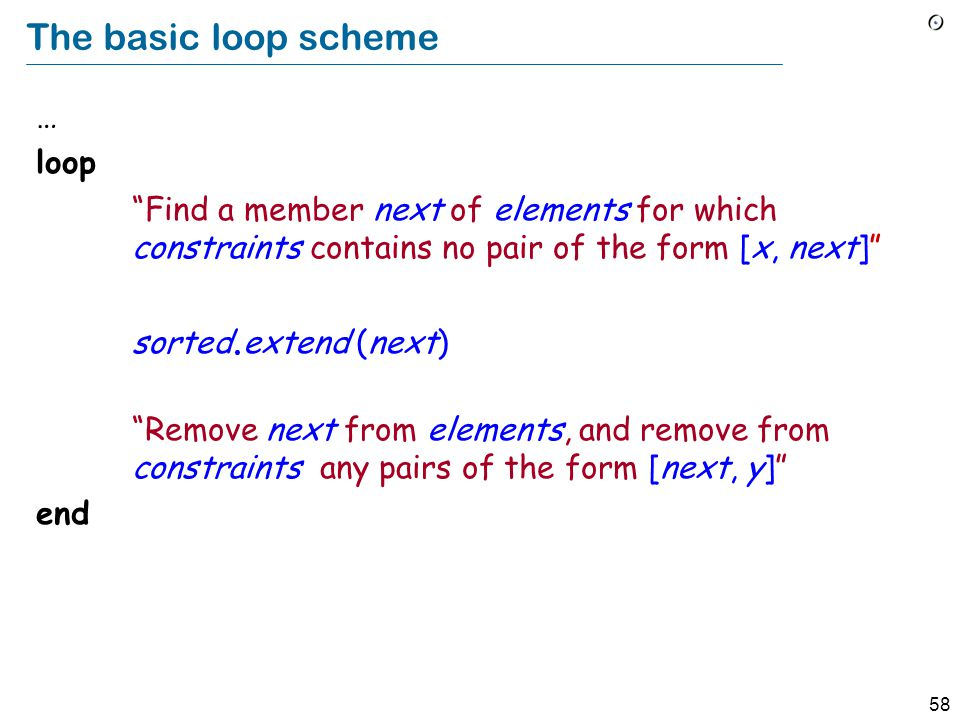 58 The basic loop scheme … loop Find a member next of elements for which constraints contains no pair of the form [x, next] sorted.