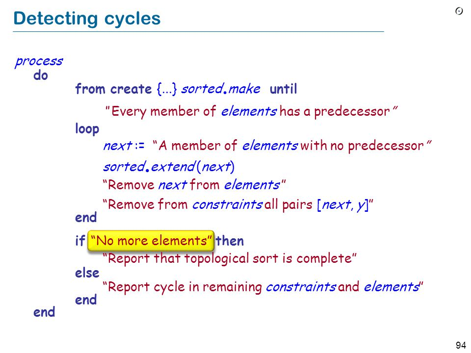 94 Detecting cycles process do from create {...} sorted.