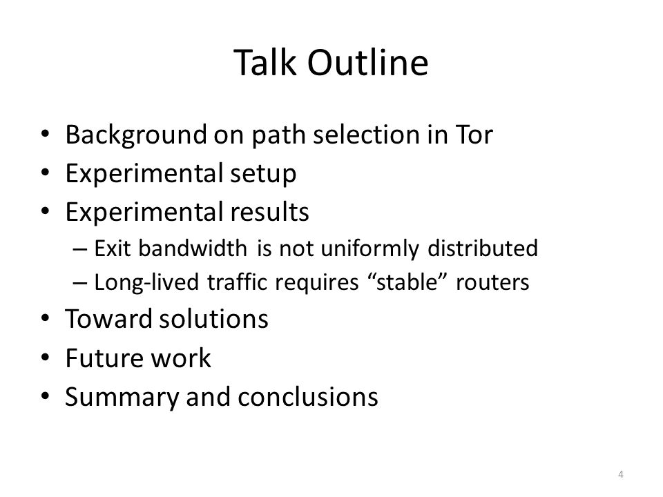 Path Selection in Tor Clients choose Tor routers in proportion to their bandwidth capacities To reduce the risk of path compromise, Tor clients choose their circuits very carefully Circuit construction rules A router may only be used once per circuit Only one router per /16 network and two routers per IP address First router must be an entry guard The exit router must allow connections to the traffic's destination host and port 5 Mitigates risk of choosing adversary controlled routers Mitigates the predecessor attack Ensures traffic can be delivered