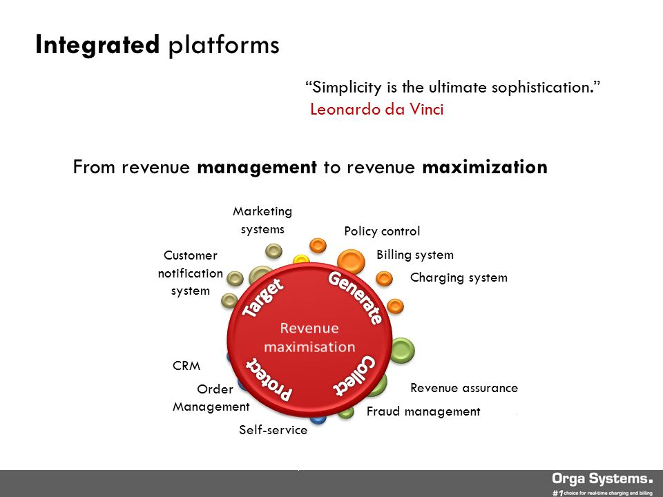 Marketing systems Fragmented systems and processes CRM Order Management Self-service Revenue assurance Fraud management.