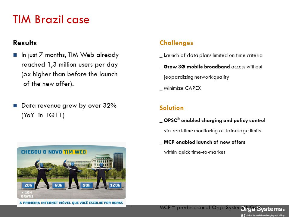 TIM Brazil case Challenges _ Launch of data plans limited on time criteria _ Grow 3G mobile broadband access without jeopardizing network quality _ Mi