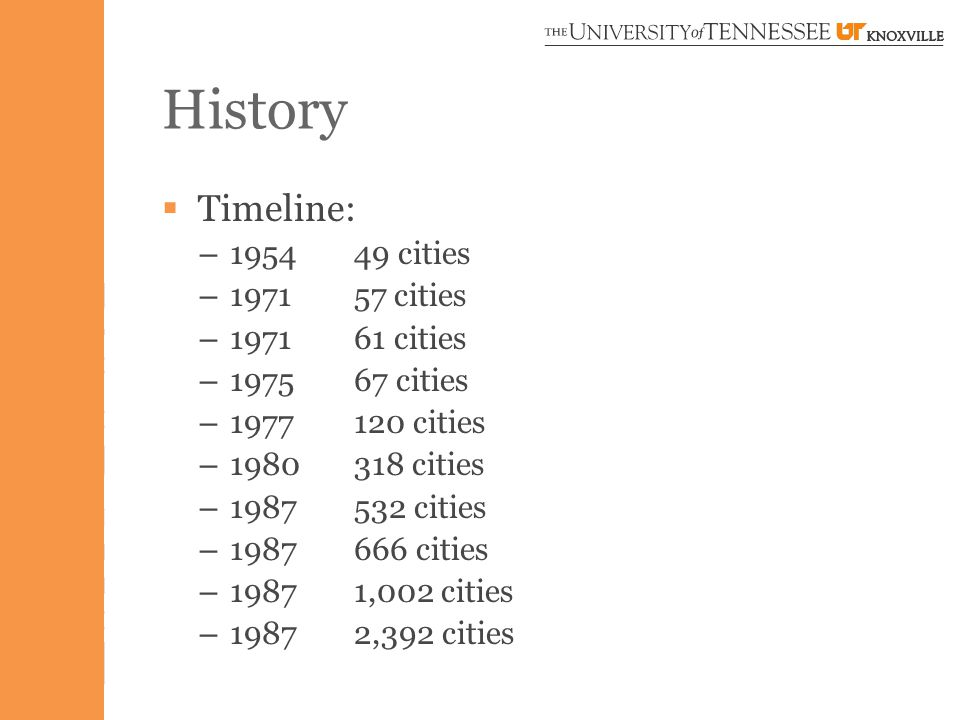  Timeline: – 195449 cities – 197157 cities – 197161 cities – 197567 cities – 1977120 cities – 1980318 cities – 1987532 cities – 1987666 cities – 19871,002 cities – 19872,392 cities