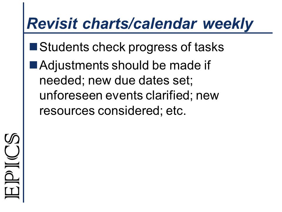 Revisit charts/calendar weekly Students check progress of tasks Adjustments should be made if needed; new due dates set; unforeseen events clarified;