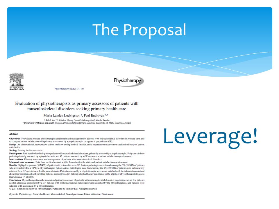 The Proposal Leverage!