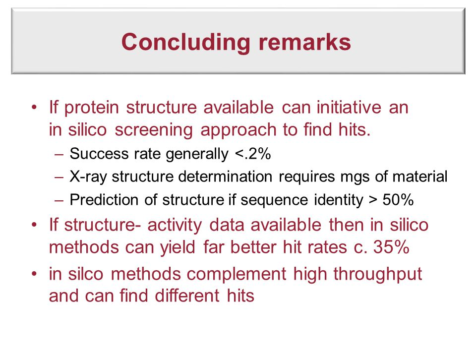 Concluding remarks If protein structure available can initiative an in silico screening approach to find hits. –Success rate generally <.2% –X-ray str