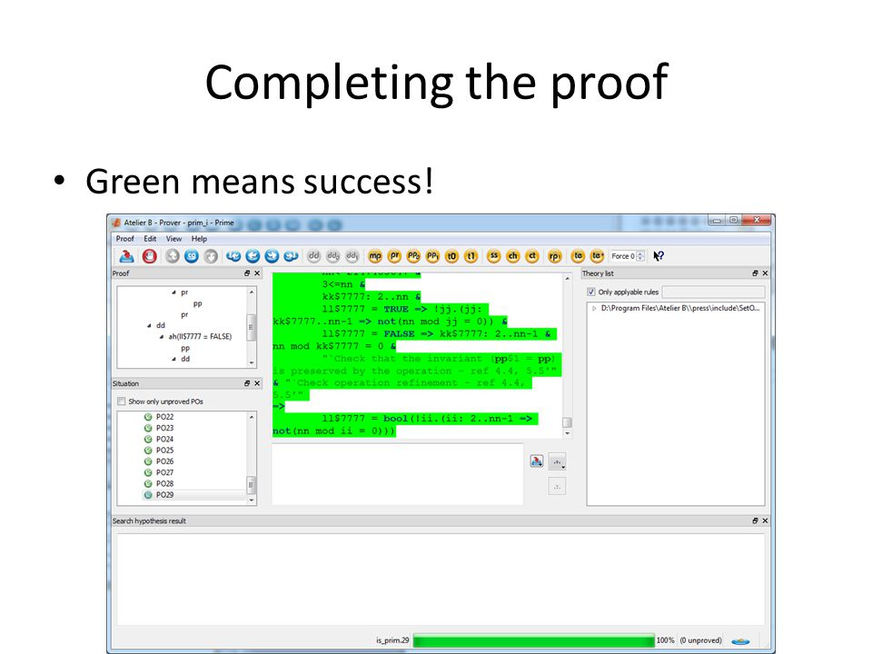 Completing the proof Green means success!