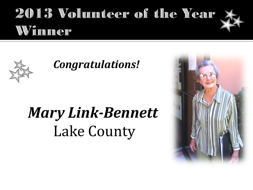 Congratulations! Mary Link-Bennett Lake County
