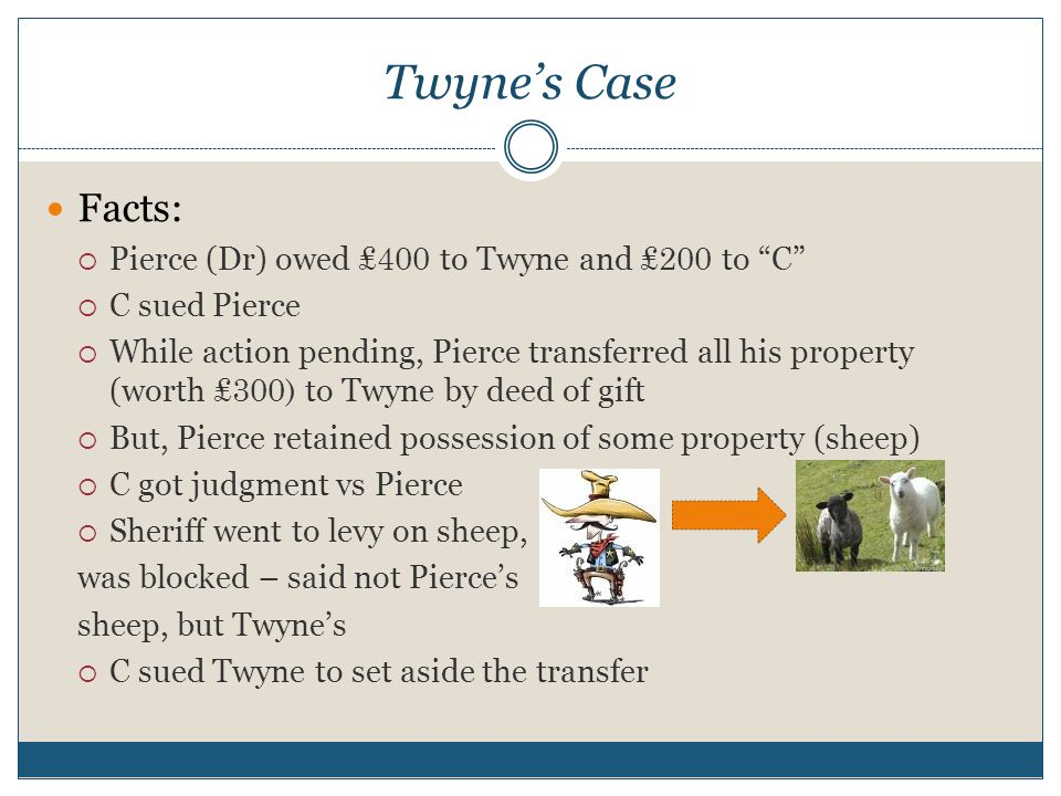 Twyne's Case Facts:  Pierce (Dr) owed ₤400 to Twyne and ₤200 to C  C sued Pierce  While action pending, Pierce transferred all his property (worth ₤300) to Twyne by deed of gift  But, Pierce retained possession of some property (sheep)  C got judgment vs Pierce  Sheriff went to levy on sheep, was blocked – said not Pierce's sheep, but Twyne's  C sued Twyne to set aside the transfer