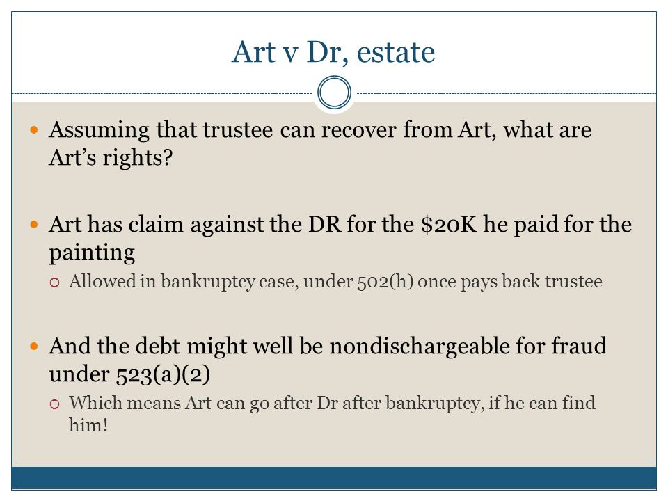 Art v Dr, estate Assuming that trustee can recover from Art, what are Art's rights? Art has claim against the DR for the $20K he paid for the painting
