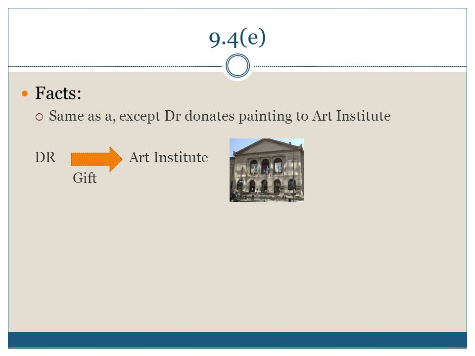 9.4(e) Facts:  Same as a, except Dr donates painting to Art Institute DR Art Institute Gift