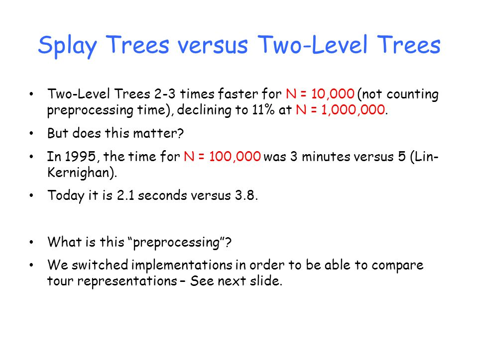 Splay Trees versus Two-Level Trees Two-Level Trees 2-3 times faster for N = 10,000 (not counting preprocessing time), declining to 11% at N = 1,000,00