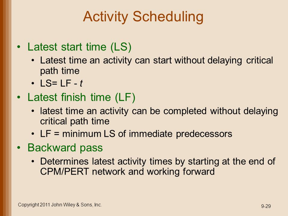 Activity Scheduling Latest start time (LS) Latest time an activity can start without delaying critical path time LS= LF - t Latest finish time (LF) la