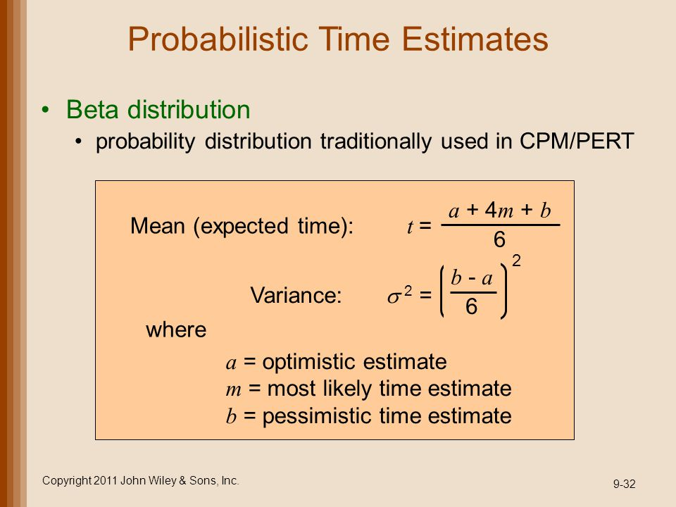 Probabilistic Time Estimates Beta distribution probability distribution traditionally used in CPM/PERT Copyright 2011 John Wiley & Sons, Inc. 9-32 a =