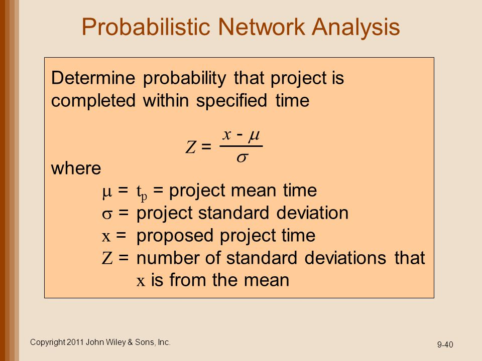 Probabilistic Network Analysis Copyright 2011 John Wiley & Sons, Inc. 9-40 Determine probability that project is completed within specified time where