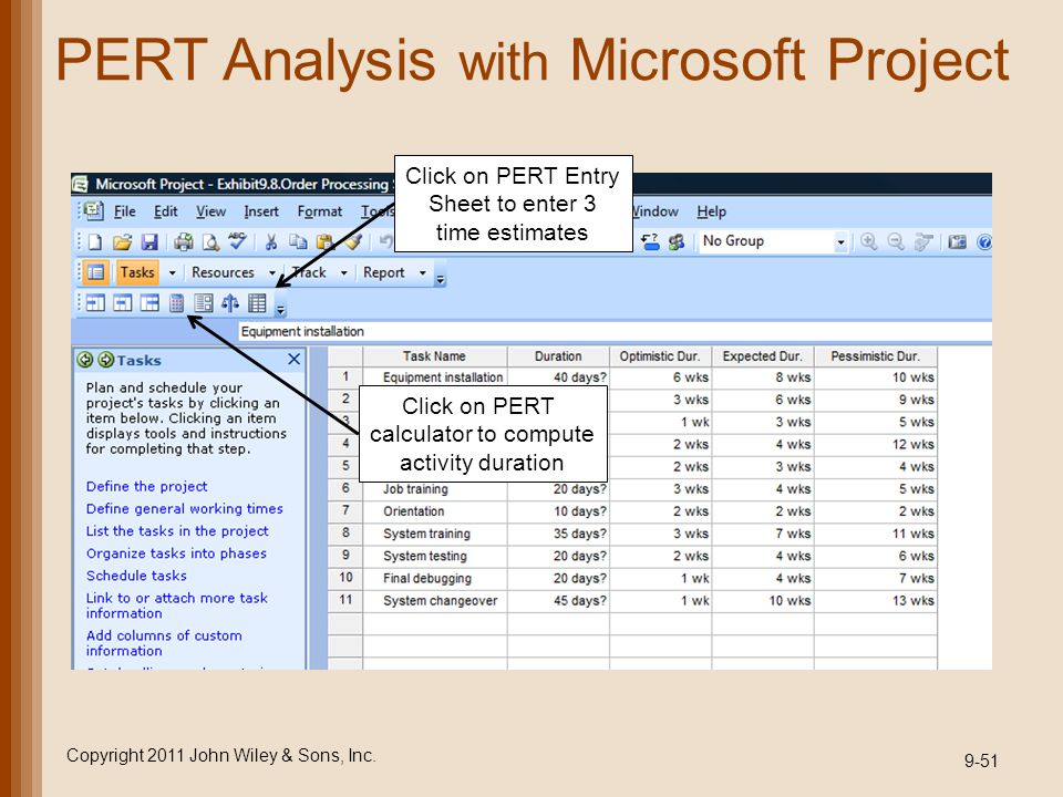 PERT Analysis with Microsoft Project Copyright 2011 John Wiley & Sons, Inc. 9-51 Click on PERT Entry Sheet to enter 3 time estimates Click on PERT cal