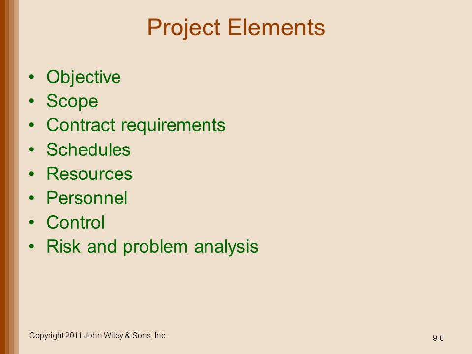 Project Elements Objective Scope Contract requirements Schedules Resources Personnel Control Risk and problem analysis Copyright 2011 John Wiley & Son