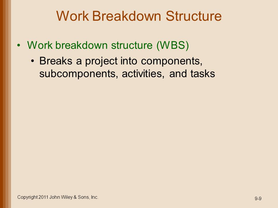 Work Breakdown Structure Work breakdown structure (WBS) Breaks a project into components, subcomponents, activities, and tasks Copyright 2011 John Wil