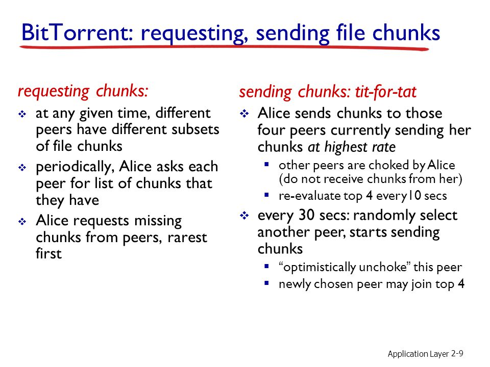 Application Layer 2-9 BitTorrent: requesting, sending file chunks requesting chunks:  at any given time, different peers have different subsets of file chunks  periodically, Alice asks each peer for list of chunks that they have  Alice requests missing chunks from peers, rarest first sending chunks: tit-for-tat  Alice sends chunks to those four peers currently sending her chunks at highest rate  other peers are choked by Alice (do not receive chunks from her)  re-evaluate top 4 every10 secs  every 30 secs: randomly select another peer, starts sending chunks  optimistically unchoke this peer  newly chosen peer may join top 4