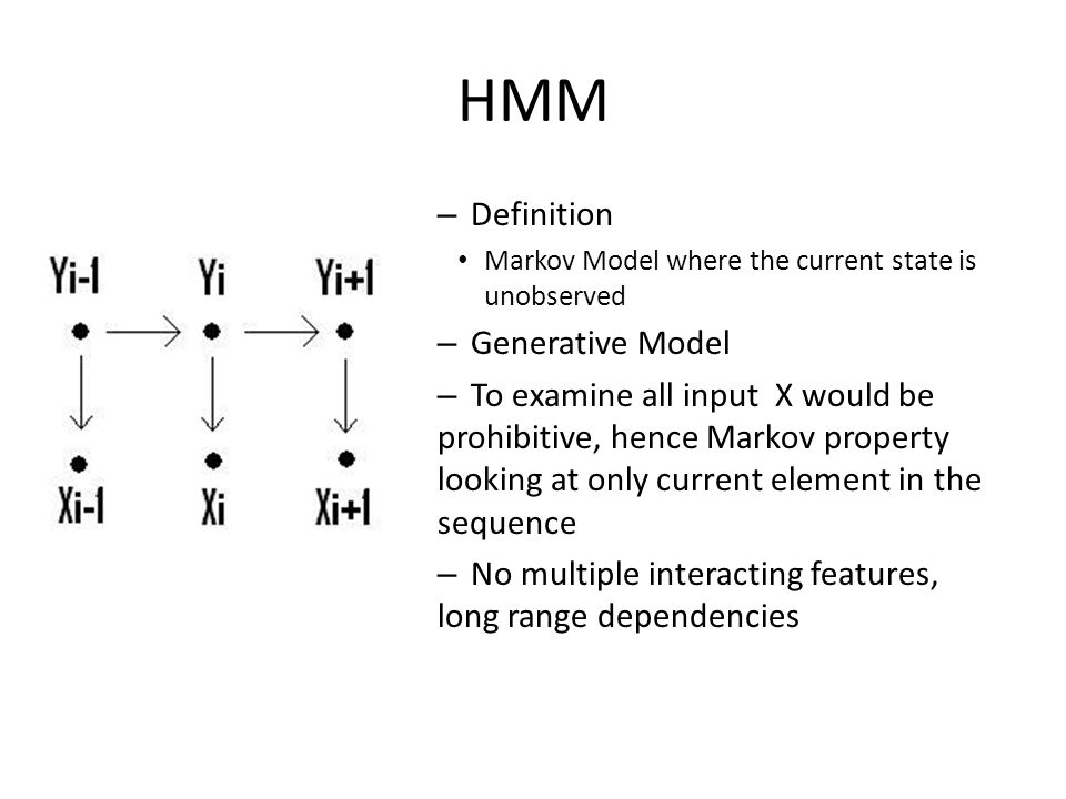 HMM – Definition Markov Model where the current state is unobserved – Generative Model – To examine all input X would be prohibitive, hence Markov property looking at only current element in the sequence – No multiple interacting features, long range dependencies