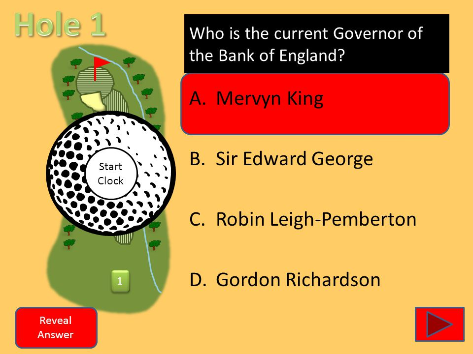 1 1 Who is the current Governor of the Bank of England? A.Mervyn King B.Sir Edward George C.Robin Leigh-Pemberton D.Gordon Richardson Reveal Answer St