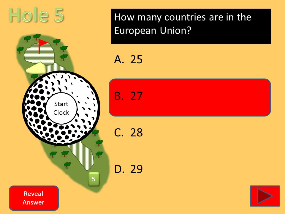 How many countries are in the European Union A.25 B.27 C.28 D.29 Reveal Answer 5 5 Start Clock